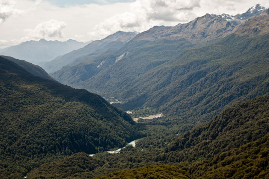 Blick vom Key Summit ins Hollyford Valley