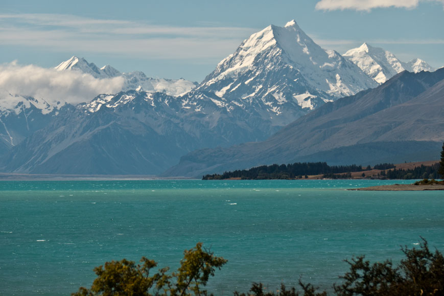 Lake Pukaki und Mount Cook (3750 Meter)
